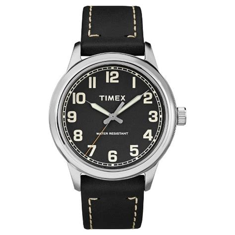 s timex 174 with leather silver black target