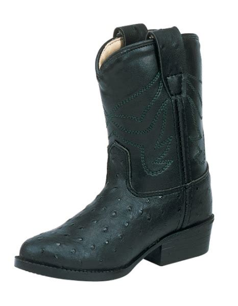 ow or1010 040 toddler western boot black ostrich print size 4