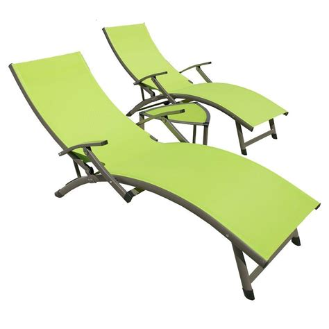 chaise lounge green rst brands sol sling 3 piece green patio chaise lounge set