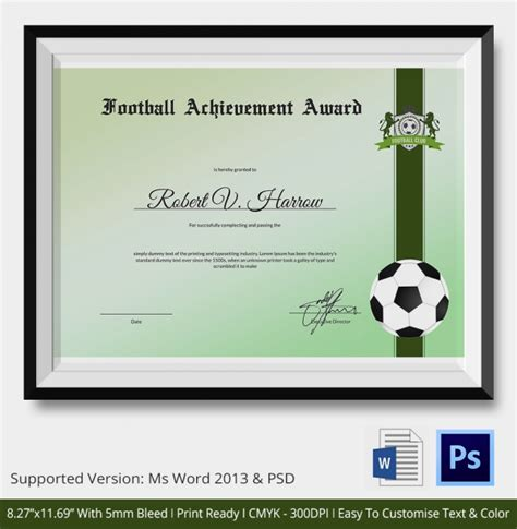 10 football certificate templates free word pdf