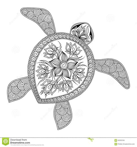 henna tattoo zwart pattern for coloring book decorative graphic turtle