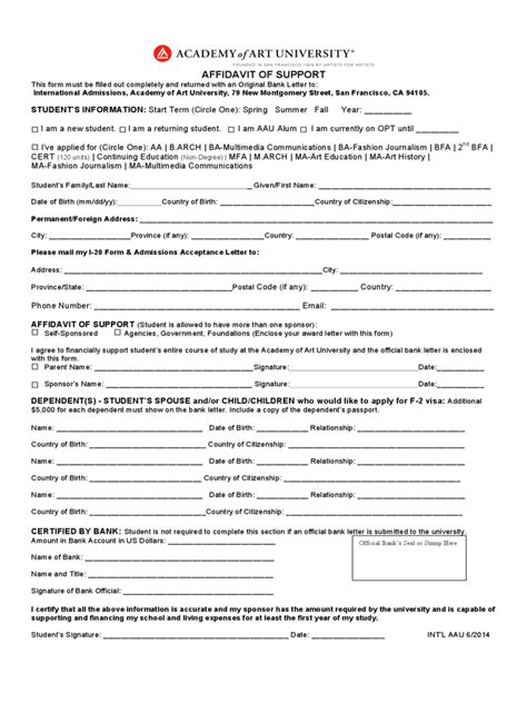 Affidavit Of Support Sle Letter College Affidavit Form 303 Free Templates In Pdf Word Excel