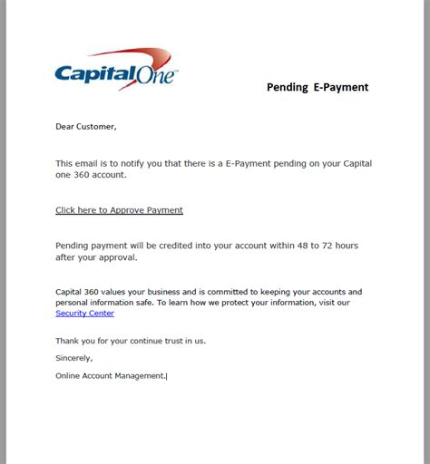 Capital One Credit Letter Phishing E Payment Alert On Your Account Capital One 360 My Security