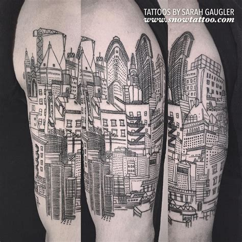 city line tattoo snow by gaugler