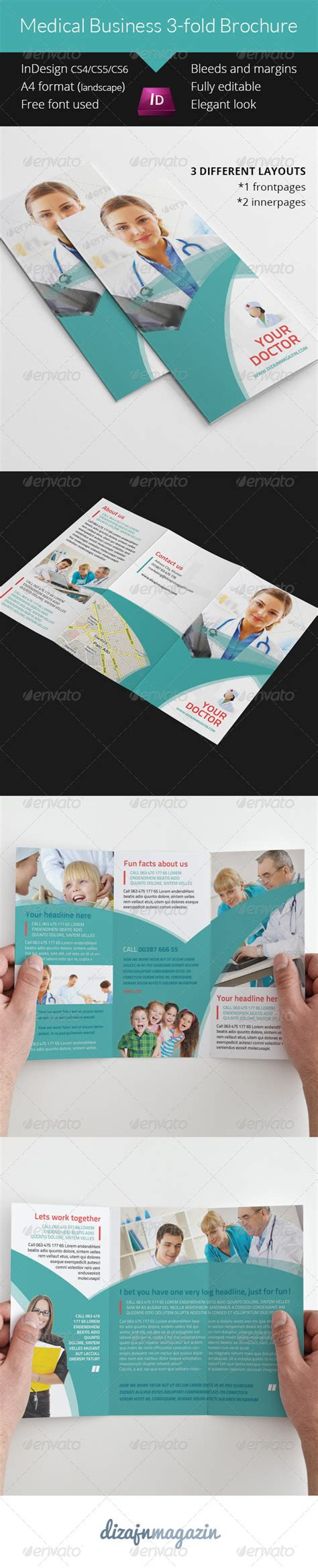 business 3 fold brochure indesign template