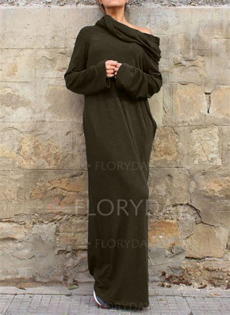 casual jurken lange mouw floryday katoen polyester plain lange mouw maxi casual