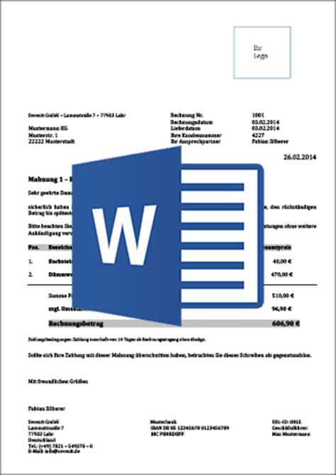 Mahnung Vorlage Word mahnungsvorlage f 252 r word excel mit anleitung kostenlos