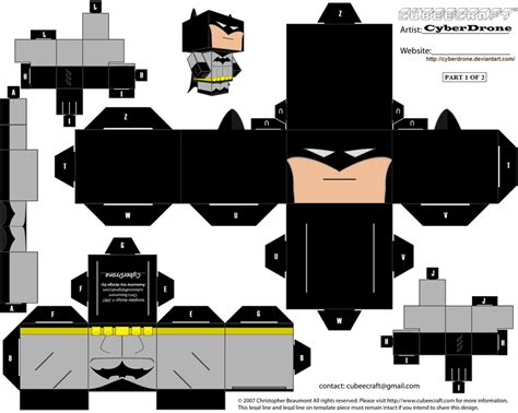 Note Papercraft - cubee batman 1of2 by cyberdrone on deviantart