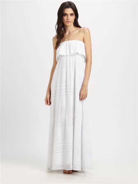 Asos Crochet Strapless Dress odabash crochet strapless maxi dress in white lyst