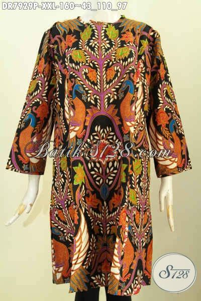 Baju Batik Dress Terusan Wanita Motif Daun Katun Cap Malam Etnik baju batik terkini dress batik terusan model trendy