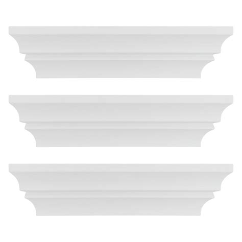 madison decorative wall ledge shelf set of 3 espresso kiera grace madison contoured 12 in x 4 in white wall