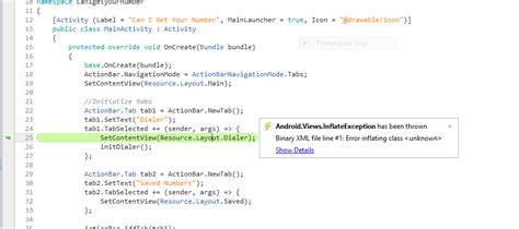 xamarin android inflate layout xamarin binary xml file line 1 error inflating clas