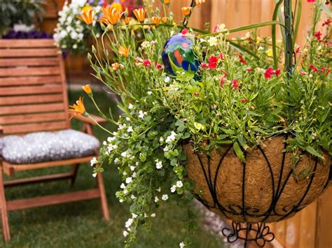 Planting Flowers In Planters by How To Plant Hanging Baskets Hgtv
