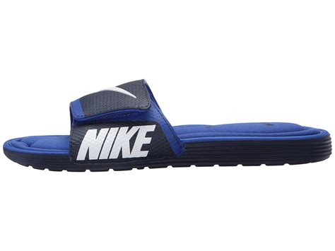 nike slides comfort nike solarsoft comfort slide in blue for men lyst