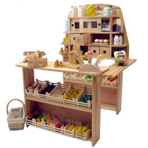 grocery stand wooden play grocery store market stand