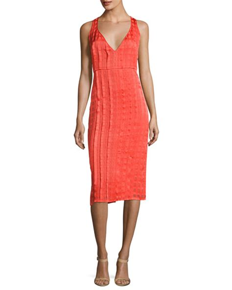 V Neck Sleeveless Knit Midi Dress diane furstenberg sleeveless v neck tailored midi
