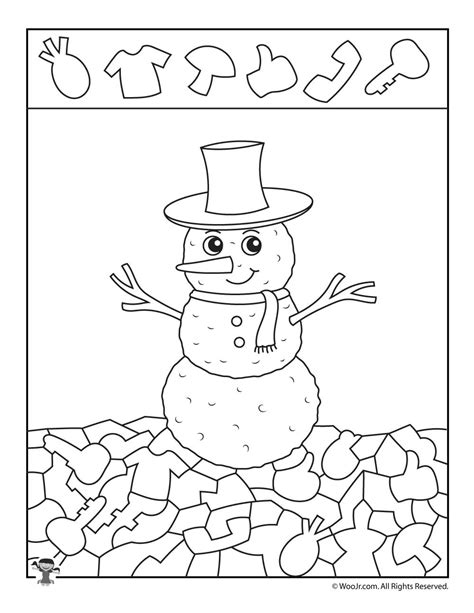 winter coloring pages middle school winter snowman hidden picture printable woo jr kids