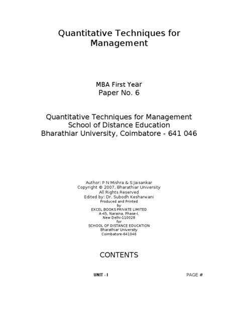 Quantitative Techniques For Management Mba by Quantitative Techniques For Management