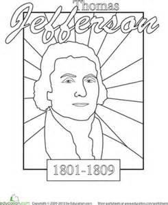 color a u s president thomas jefferson worksheet