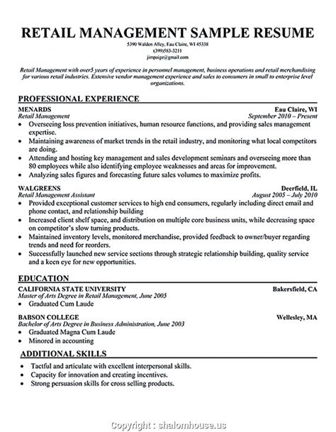 resume sle for cashier at a supermarket store manager resume sle retail store manager resume