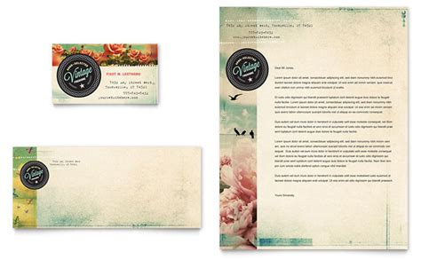 vintage business letterhead vintage clothing business card letterhead template design