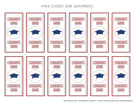free printable graduation bar wrappers templates free blue preppy graduation printables catch