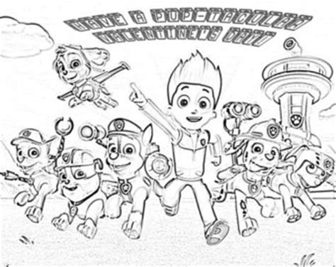 valentines day coloring pages paw patrol paw patrol coloring etsy