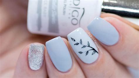 easy nail art gel easy gel nail art sparkly silver leaves video tutorial
