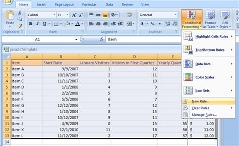 format microsoft excel 2007 format using icon sets conditional formatting 171 format