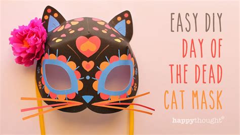 day of the dead mask template day of the dead cat mask free diy template