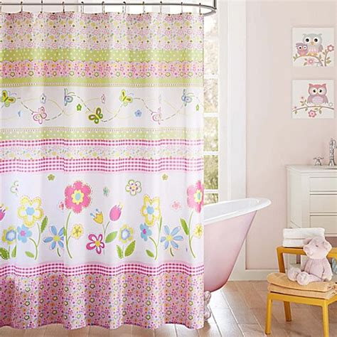 kids bathroom curtain mi zone kids spring bloom printed shower curtain in white