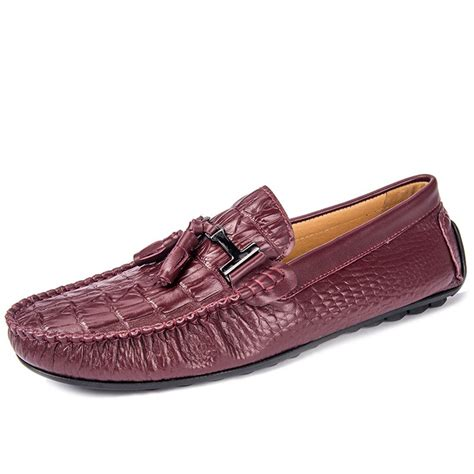 leather tassel loafers cwmalls 174 croc embossed leather tassel loafers cw707135