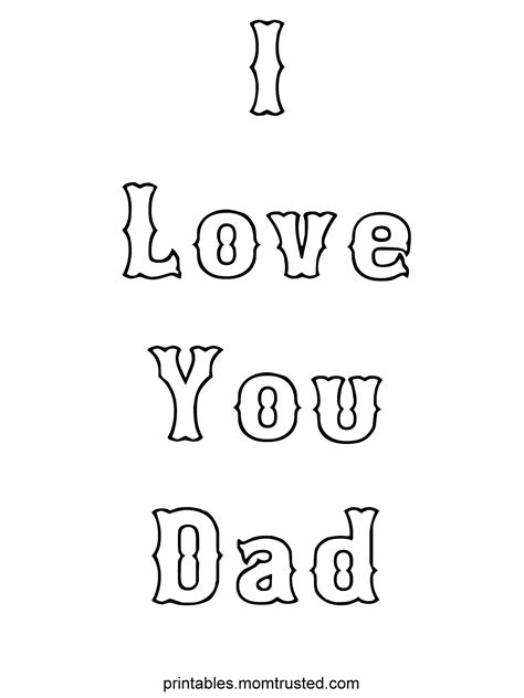 coloring pages love dad i love you dad tag preschool activities and