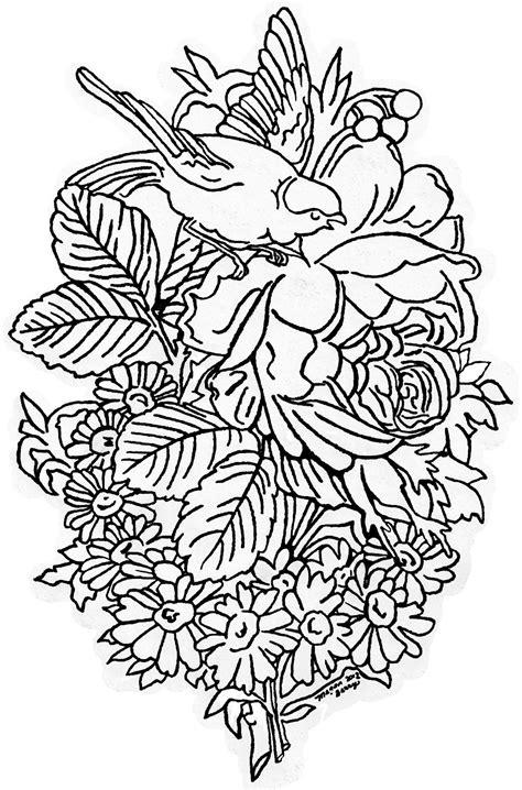 printable flowers and birds lilac lavender vintage bird flowers clip art