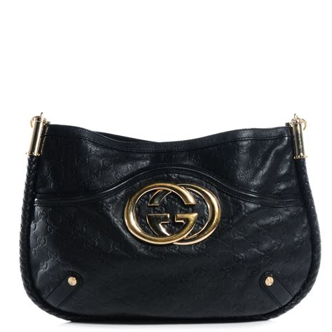 Gucci Britt Medium Purse by Gucci Guccissima Britt Medium Shoulder Bag Black 65748