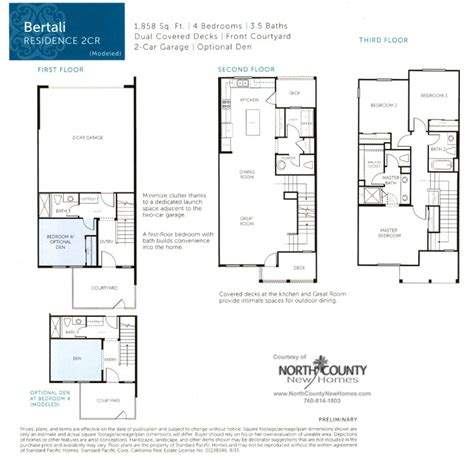 new townhomes floor plans at triton square in san diego