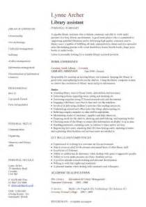 Library Page Resume Library Assistant Cv Sample