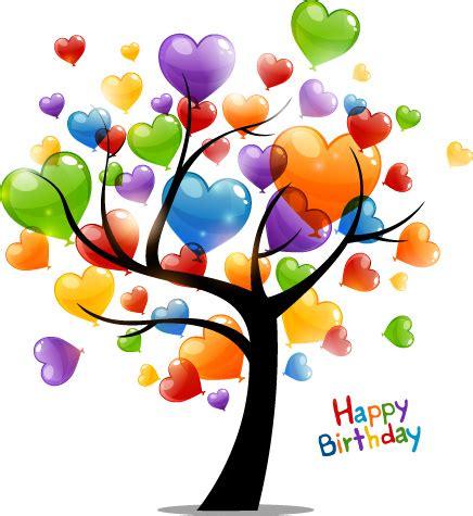 Colored heart tree happy birthday card vector Free vector