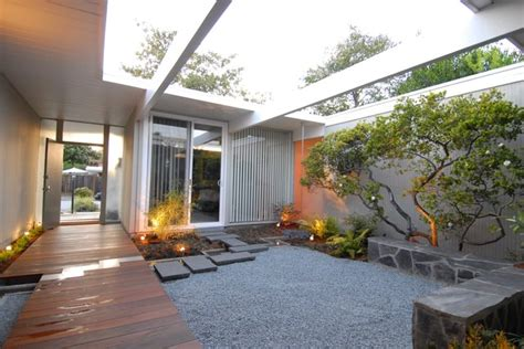 Zebra Bathroom Decorating Ideas Eichler Atrium Midcentury Landscape San Francisco
