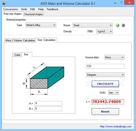 calculator volume avd mass and volume calculator 7 2 1 crack free free