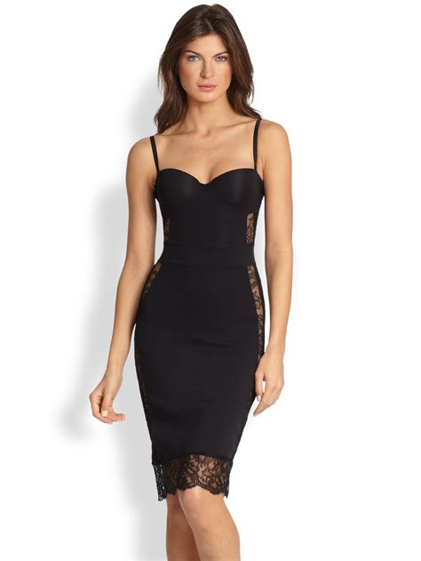 lyst la perla shape convertible slip dress in black