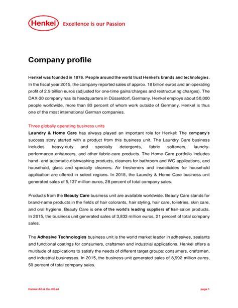 company profile exle free download
