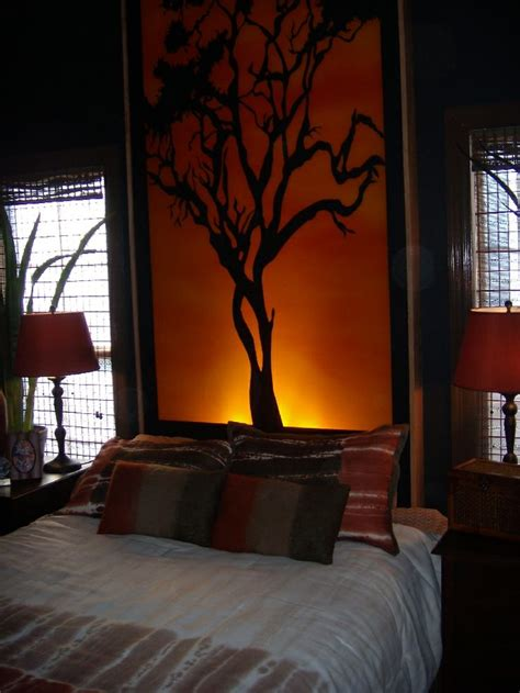 back lit tree branch headboard master bedroom ideas