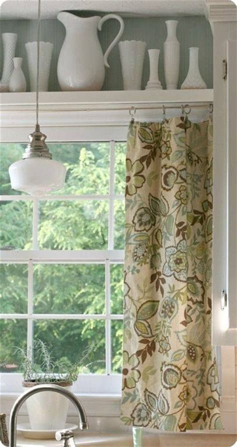 curtains for shelves shelf above window kitchen decor pinterest