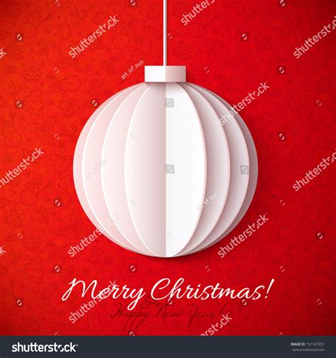 white origami paper vector christmas ball stock vector