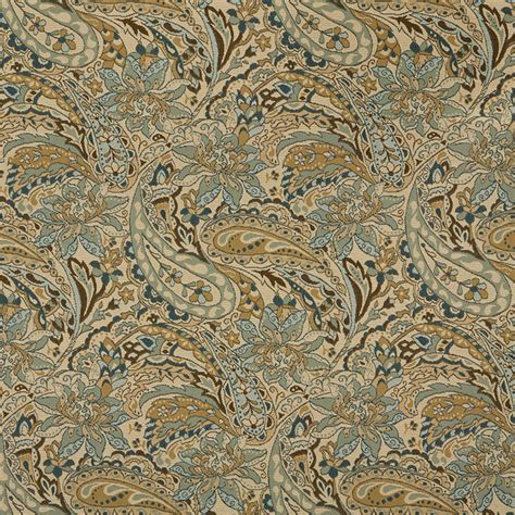 Tan Beige Brown Teal Floral Paisley Indoor Outdoor