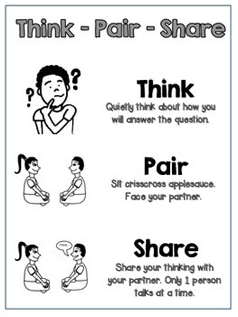 think pair share poster printable b w ckla by jennifer
