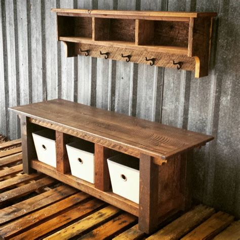 barnwood bench reclaimed barnwood three cubby bench shelf by echopeakdesign
