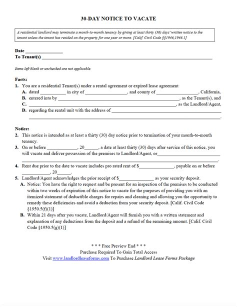 rental 30 day notice template landlord lease forms residential lease agreements