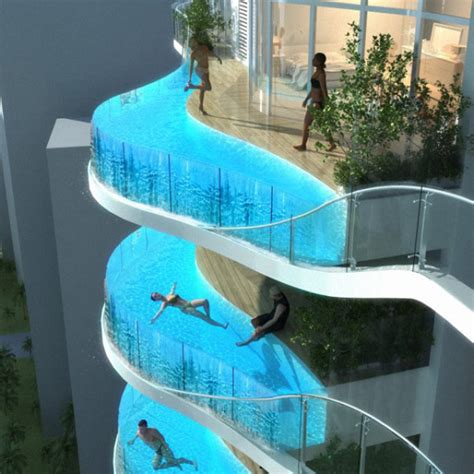 No Diving Board?: Highrise With Glass Pool Balconies